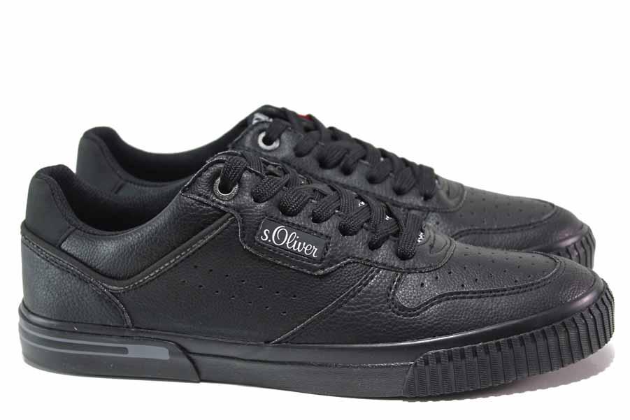 Спортни мъжки обувки - висококачествена еко-кожа - черни - EO-18153