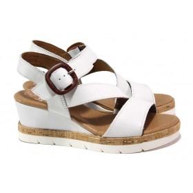 Дамски сандали - естествена кожа - бели - EO-18175
