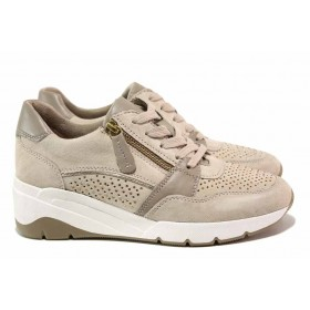 Дамски обувки на платформа - естествена кожа в съчетание с еко-кожа - бежови - EO-18171