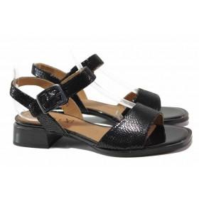 """Дамски сандали - естествена кожа с """"кроко"""" мотив - черни - EO-18170"""
