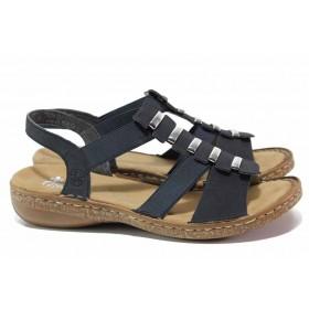 Дамски сандали - висококачествена еко-кожа - сини - EO-18176