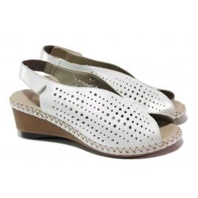 Дамски сандали - естествена кожа - бели - EO-18194