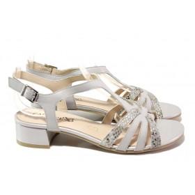 Дамски сандали - естествена кожа - сиви - EO-18185