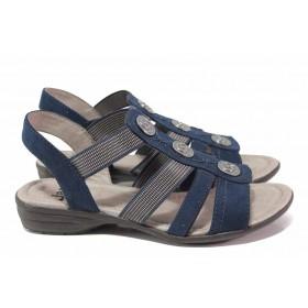 Дамски сандали - висококачествен еко-велур - тъмносин - EO-18191