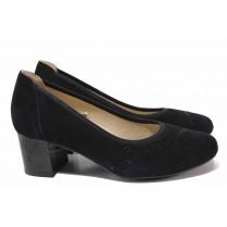 Дамски обувки на среден ток - естествен велур - черни - EO-18186