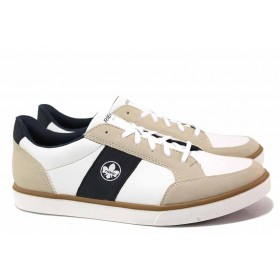 Спортни мъжки обувки - висококачествена еко-кожа - бели - EO-18197
