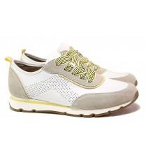 Дамски спортни обувки - естествена кожа - бели - EO-18193