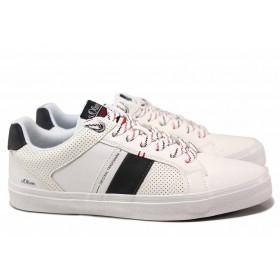 Спортни мъжки обувки - висококачествена еко-кожа - бели - EO-18235
