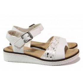 Дамски сандали - висококачествена еко-кожа - бели - EO-18240