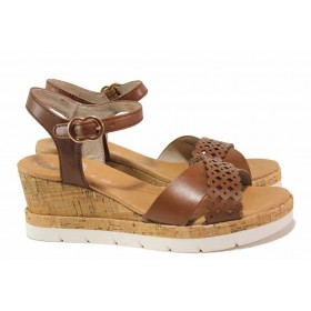 Дамски сандали - естествена кожа - кафяви - EO-18286