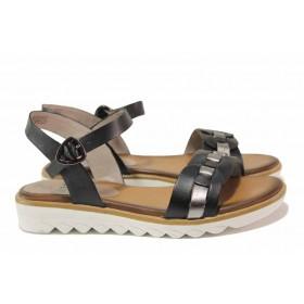 Дамски сандали - естествена кожа - черни - EO-18285