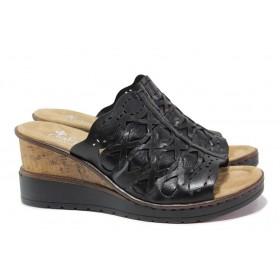 Дамски чехли - естествена кожа - черни - EO-18288
