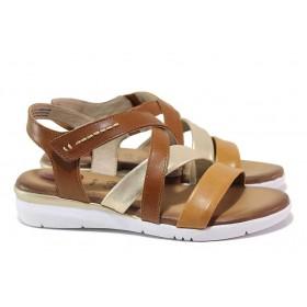 Дамски сандали - естествена кожа - кафяви - EO-18293