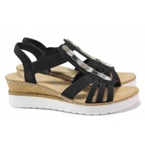 Дамски сандали - висококачествен еко-велур - черни - EO-18300
