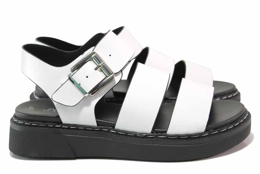 Дамски сандали - висококачествена еко-кожа - бели - EO-18303
