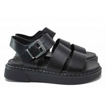 Дамски сандали - висококачествена еко-кожа - черни - EO-18304