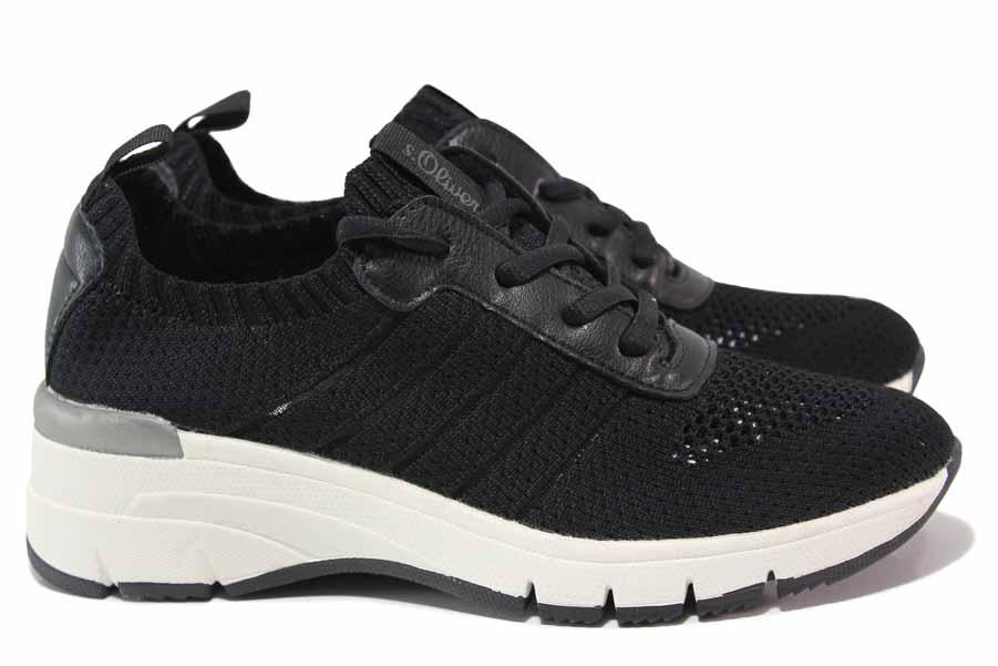 Дамски маратонки - висококачествен текстилен материал - черни - EO-18316