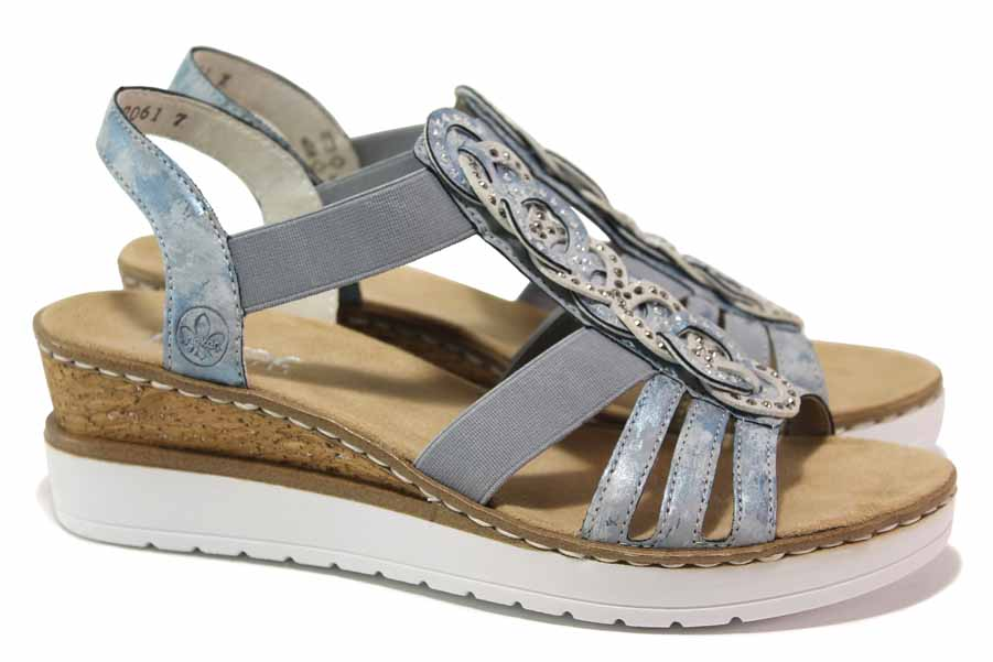 Дамски сандали - висококачествена еко-кожа - сини - EO-18310