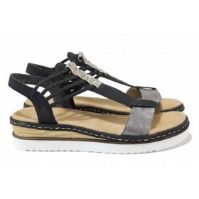 Дамски сандали - висококачествена еко-кожа - черни - EO-18320