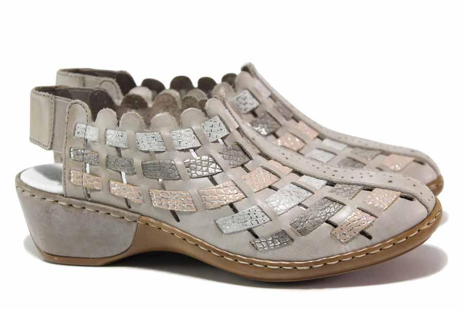 Равни дамски обувки - естествена кожа - сиви - EO-18321
