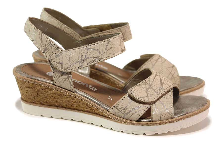 Дамски сандали - естествена кожа - бежови - EO-18324