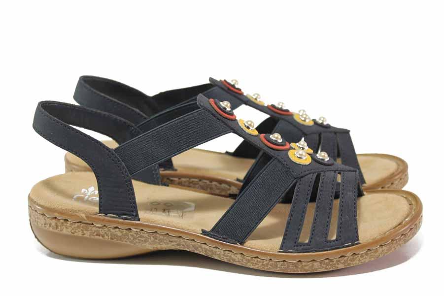 Дамски сандали - висококачествена еко-кожа - тъмносин - EO-18328