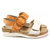 Дамски сандали - естествена кожа - оранжеви - EO-18348