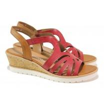 Дамски сандали - висококачествена еко-кожа - червени - EO-18349
