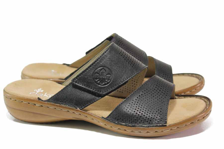 Дамски чехли - естествена кожа - черни - EO-18350