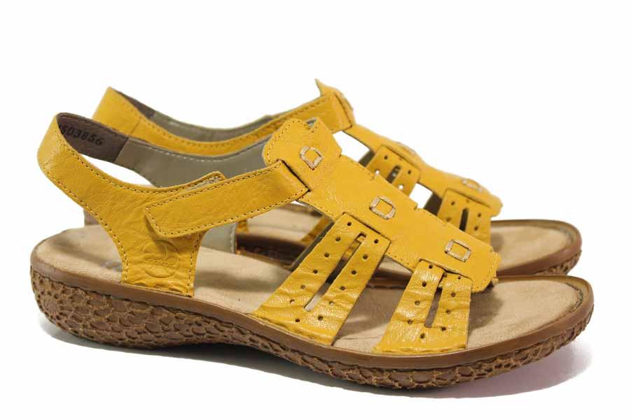 Дамски сандали - естествена кожа - жълти - EO-18351