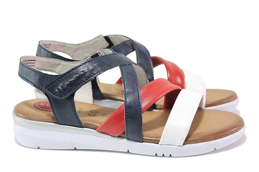 Дамски сандали - естествена кожа - сини - EO-18369