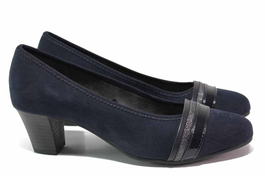 Дамски обувки на среден ток - висококачествен еко-велур - тъмносин - EO-18373