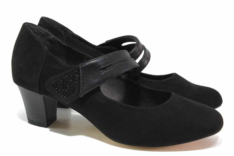 Дамски обувки на среден ток - висококачествен еко-велур - черни - EO-18376