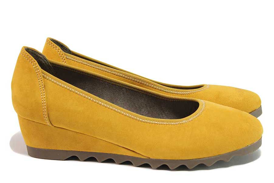 Дамски обувки на платформа - висококачествен еко-велур - жълти - EO-18370