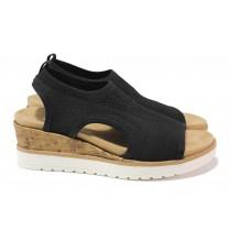 Дамски сандали - висококачествен текстилен материал - черни - EO-18387