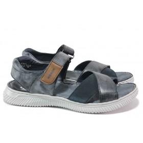 Мъжки сандали - естествена кожа в съчетание с еко-велур - сини - EO-18386