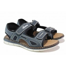 Мъжки сандали - висококачествена еко-кожа - тъмносин - EO-18396