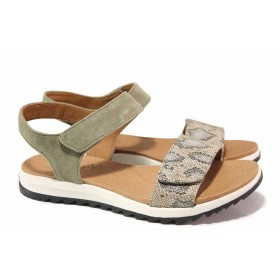 Дамски сандали - естествен велур - зелени - EO-18398