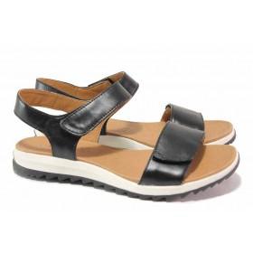 Дамски сандали - естествена кожа - черни - EO-18397