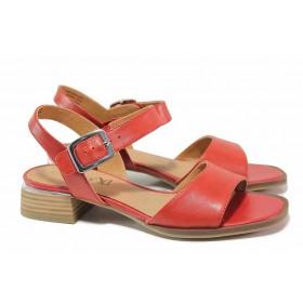 Дамски сандали - естествена кожа - червени - EO-18401