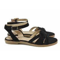 Дамски сандали - естествен велур - черни - EO-18402