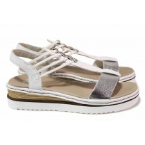 Дамски сандали - висококачествена еко-кожа - бели - EO-18432
