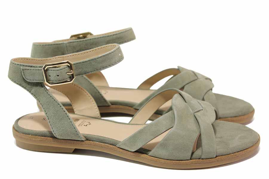 Дамски сандали - естествен велур - зелени - EO-18413