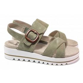 Дамски сандали - естествен велур - зелени - EO-18451