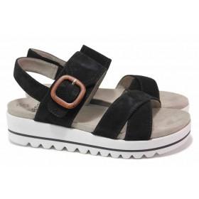 Дамски сандали - естествен велур - черни - EO-18453