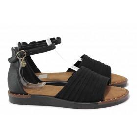 Дамски сандали - еко-кожа с текстил - черни - EO-18583