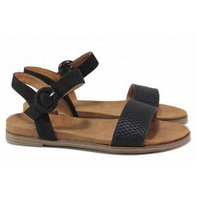 Дамски сандали - еко-кожа с текстил - черни - EO-18585
