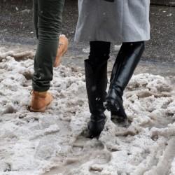 Обувките и солта през зимата