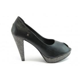 Дамски обувки на висок ток - висококачествена еко-кожа - черни - EO-4164