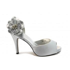 Дамски обувки на висок ток - сатен - сиви - EO-4172
